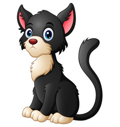 Cute cartoon black cat vector