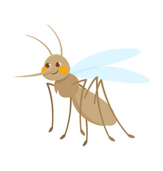 cute grey smiling mosquito on white background vector image