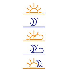 Day and night icons sun moon morning night vector