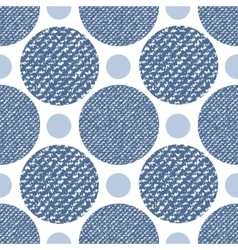 Denim jeans texture seamless pattern with circles vector image