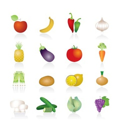 different kind of fruit and vegetables icons vector image