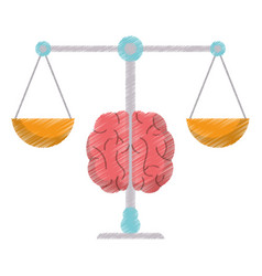 Drawing brain balance idea image vector