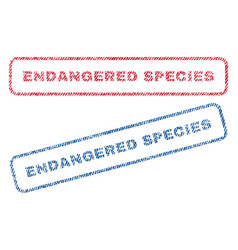 Endangered species textile stamps vector