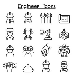 Engineer icon set in thin line style vector