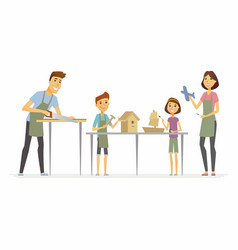 Family making handicrafts - cartoon people vector