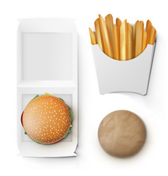 Fast food white paper burger and french fries vector