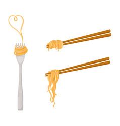 Flat asian noodle on sticks fork set vector