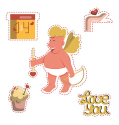 Funny cartoon valentines day stickers vector