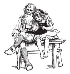 girl and her grandfather sitting vintage engraving vector image