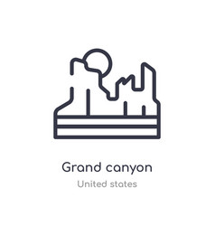 Grand canyon outline icon isolated line from vector