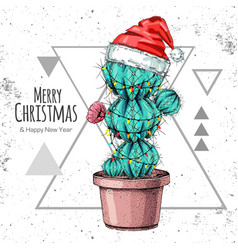 Hand drawing cactus in new year hat vector