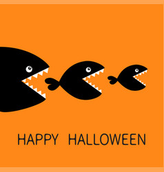 happy halloween fish monster eating each other vector image