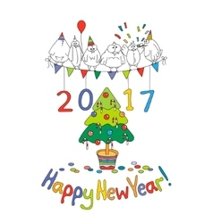 Happy New Year greeting card with cartoon funny vector