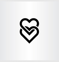 heart link black icon symbol element vector image