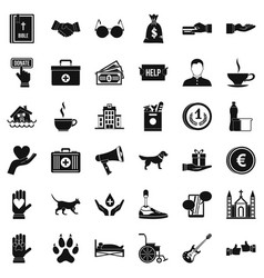 helping icons set simple style vector image