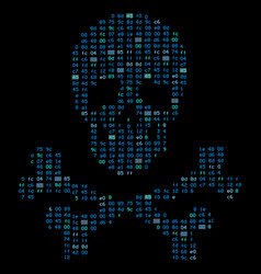 hi tech crossbones death skull danger sign from vector image