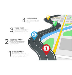 Highway road infographic street roads map gps vector