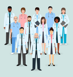hospital staff group of twelve men and women vector image