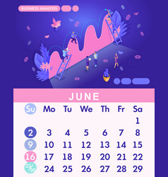 Isometric month june from set calendar of 2019 vector