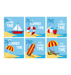 Its summer time cards collection vector
