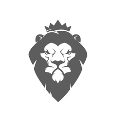 Lion head with crown Design element for logo vector