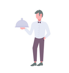man waiter holding metal serving try with cover vector image