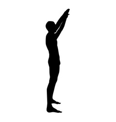 man with arms raised sportsman raising hands side vector image