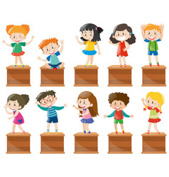 Many kids stand and sit on box vector
