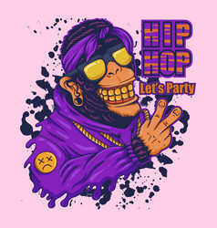 monkey hip hop party vector image