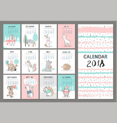 Monthly creative calendar 2018 with cute animals vector