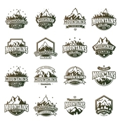 Mountain outdoor icons set vector