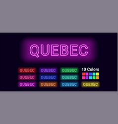 Neon name of quebec city vector