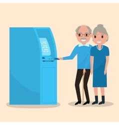 Old man puts an electronic card into the atm vector