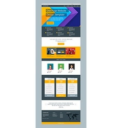 One Page Website Design Template in Flat Style vector