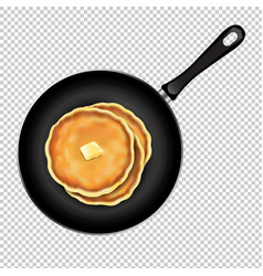 pancakes with butterin frying pan transparent vector image