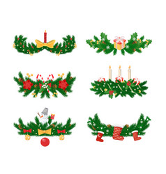 Pine branches with candle and socks baubles toys vector
