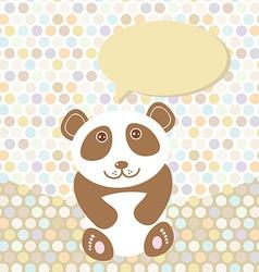 Polka dot background pattern Funny cute panda on vector image