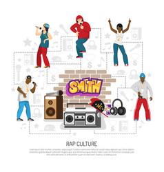 Rap music singers symbols background vector