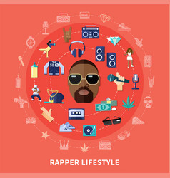 Rapper lifestyle round composition vector