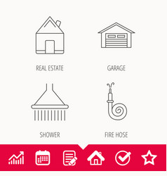 Real estate garage and shower icons vector