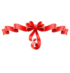Red decorative bow with ribbon vector