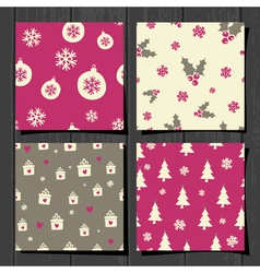 retro style christmas seamless patterns set vector image