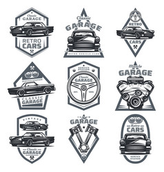 Retro vehicle club emblems set vector