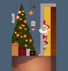 santa claus with elf peeking out from behind door vector image