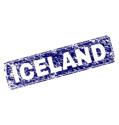 Scratched iceland framed rounded rectangle stamp vector