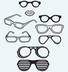 Set glasses and lips silhouettes vector