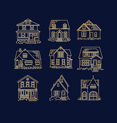 set house flat icons dark blue vector image