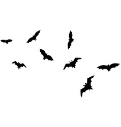 set of black silhouettes of bats vector image