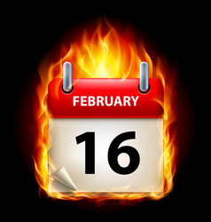 Sixteenth february in calendar burning icon on vector