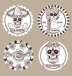 Sketch mexican dia de los muertos set of stickers vector image